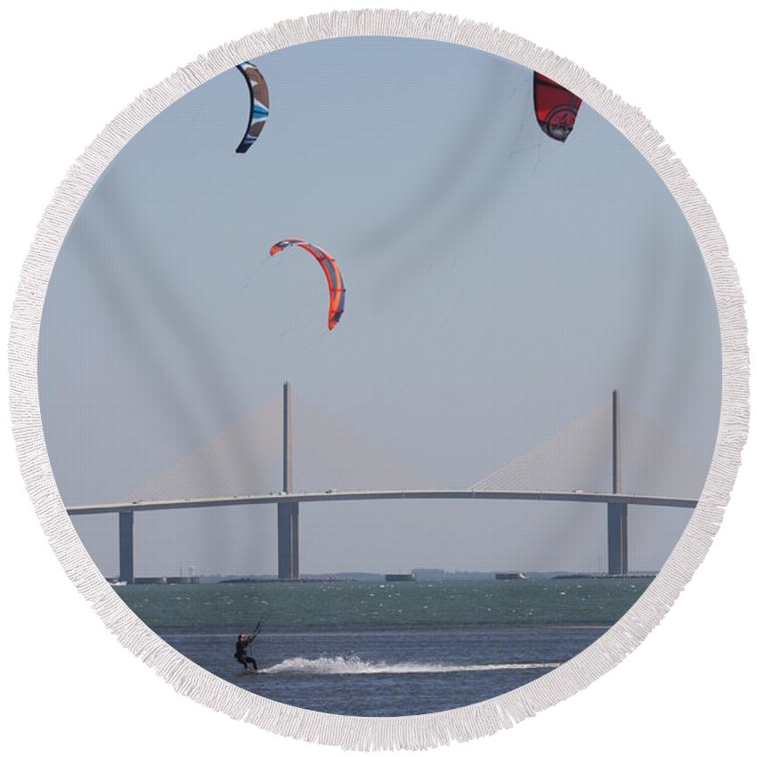 Bridge Round Beach Towel featuring the photograph Kite Surfer And Skyway Bridge by Christiane Schulze Art And Photography