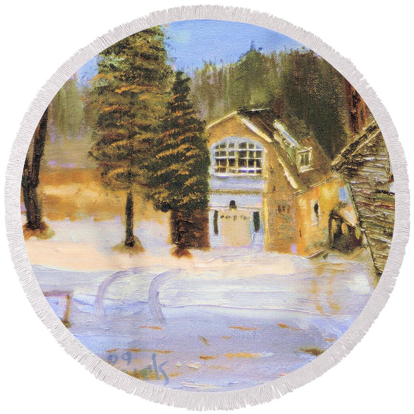 Painting Round Beach Towel featuring the painting Kittattiny Park Ranger Residence by Michael Daniels