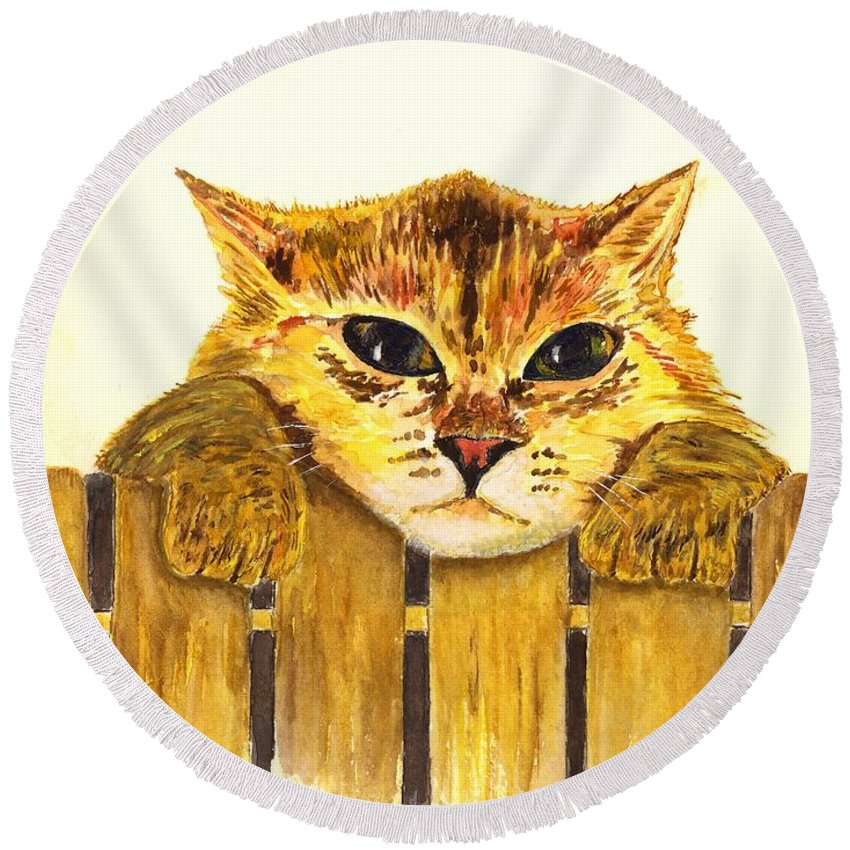 Cat Round Beach Towel featuring the painting Kitten On Fence by Michael Vigliotti