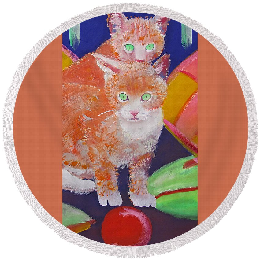 Kittens Round Beach Towel featuring the painting kittens With A Ball of Wool by Charles Stuart