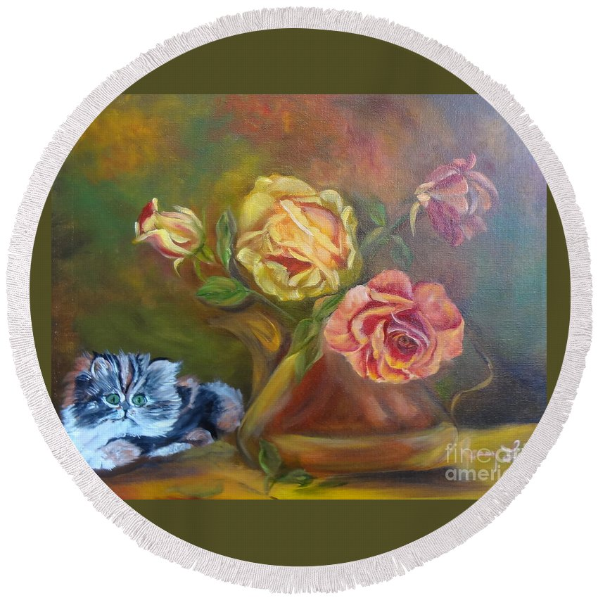 Kitten Round Beach Towel featuring the painting Kitty In The Roses by Jenny Lee