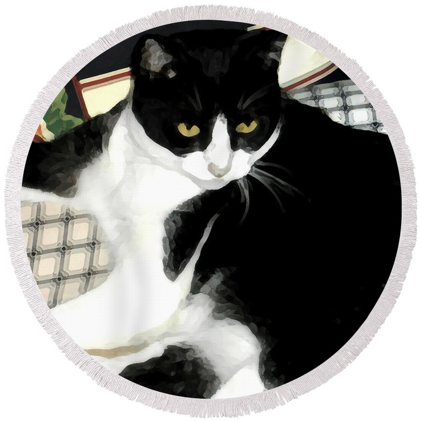 Black And White Round Beach Towel featuring the photograph Kitty On His Perch by Jeanne A Martin