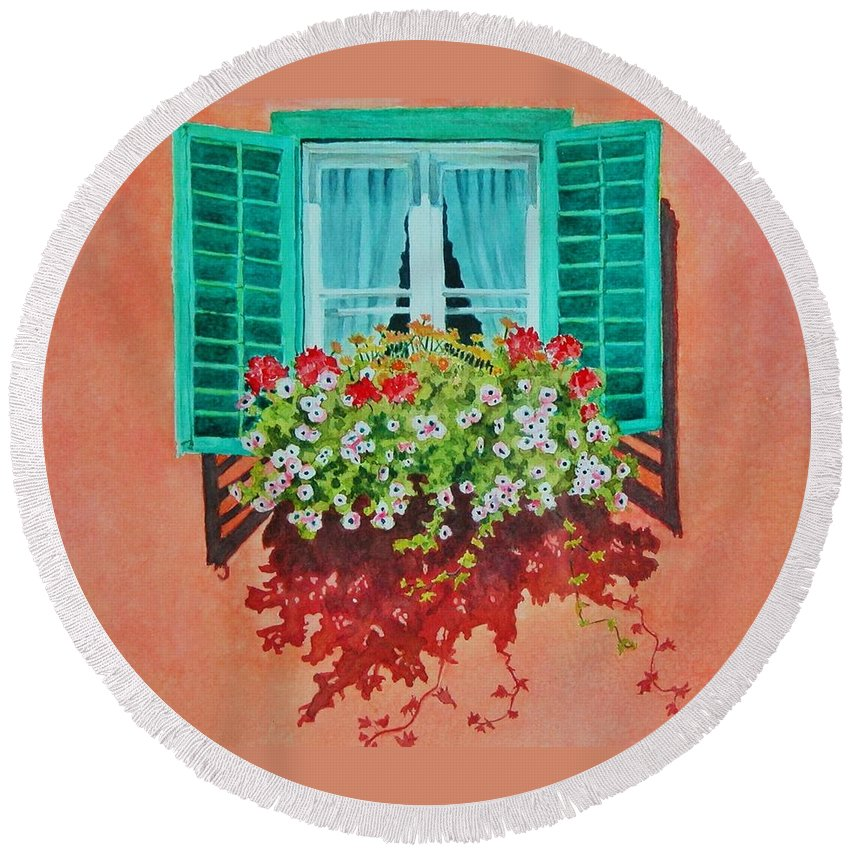 Window Box Round Beach Towel featuring the painting Kitzbuhel Window by Mary Ellen Mueller Legault