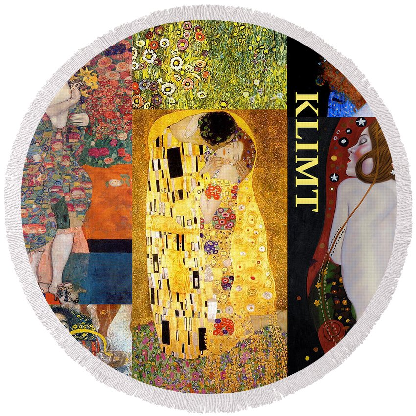 Collage Round Beach Towel featuring the digital art Klimt Collage by Philip Ralley