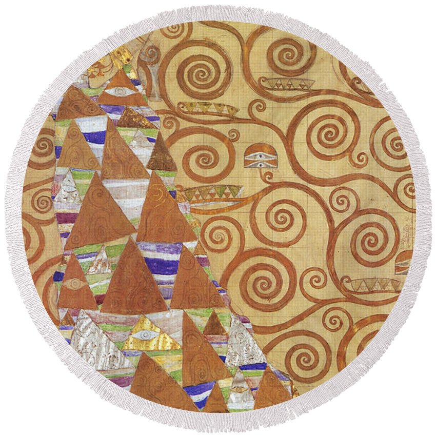 1905 Round Beach Towel featuring the painting Klimt Expectation by Granger