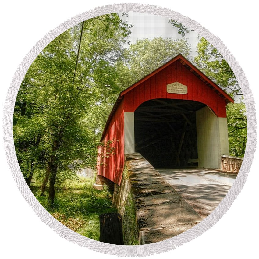 bucks County Round Beach Towel featuring the photograph Knecht's Covered Bridge by Traci Law