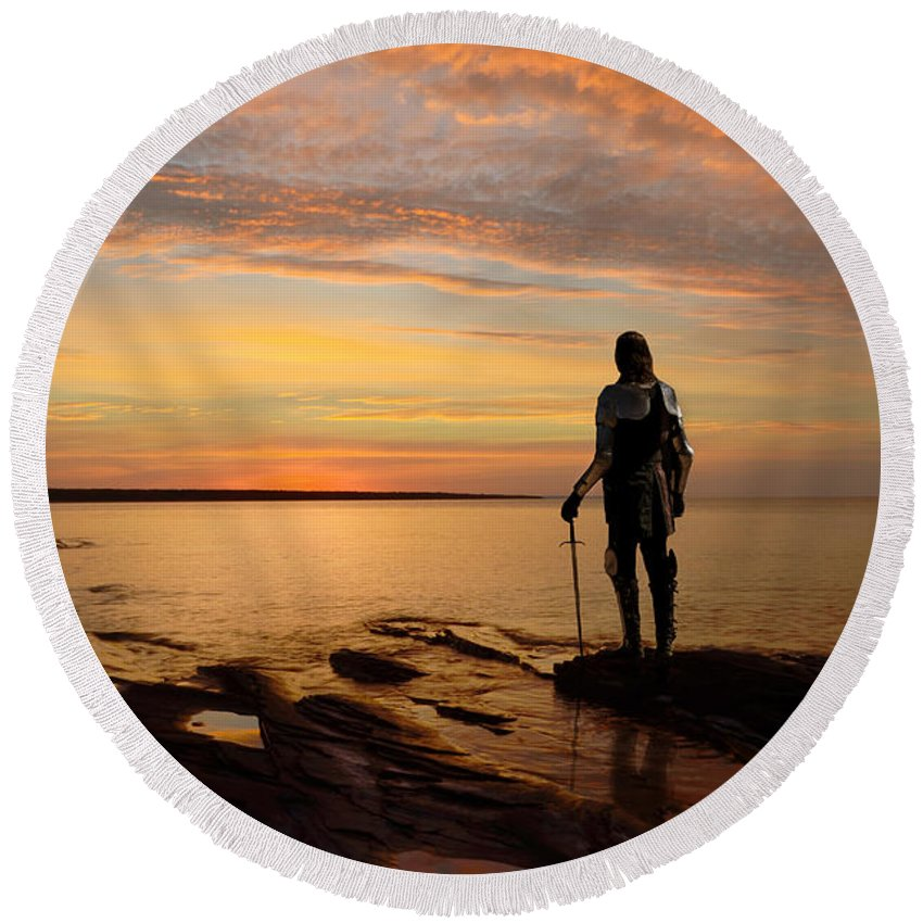 Knight Round Beach Towel featuring the photograph Knight At Sunrise by Jill Battaglia