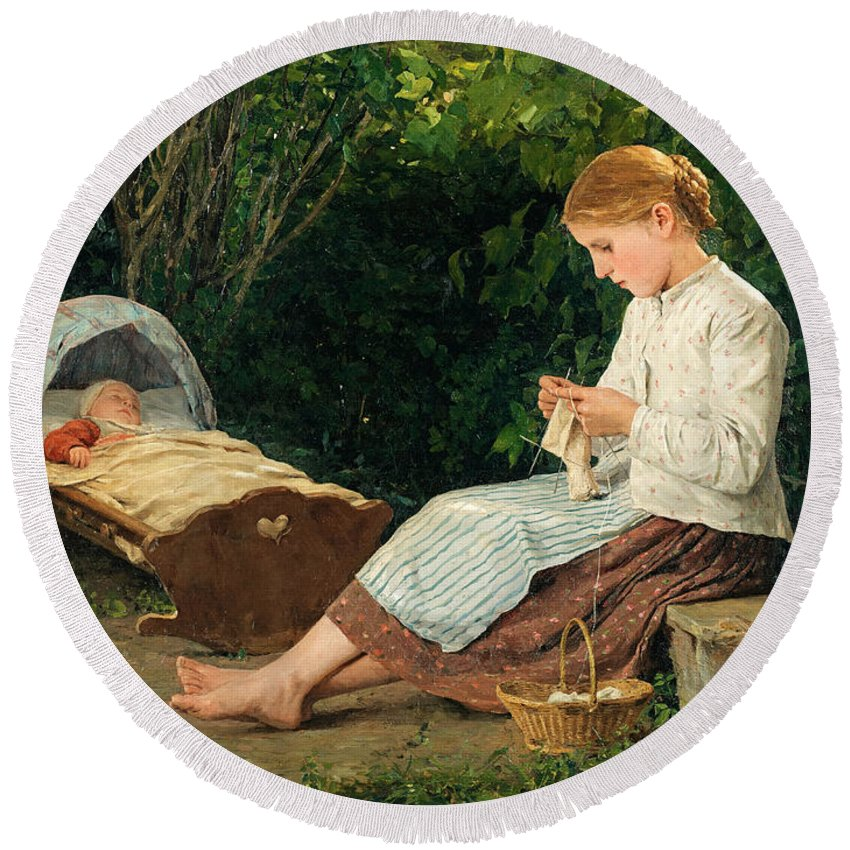 Albert Anker Round Beach Towel featuring the painting Knitting Girl Watching The Toddler In A Craddle by Albert Anker