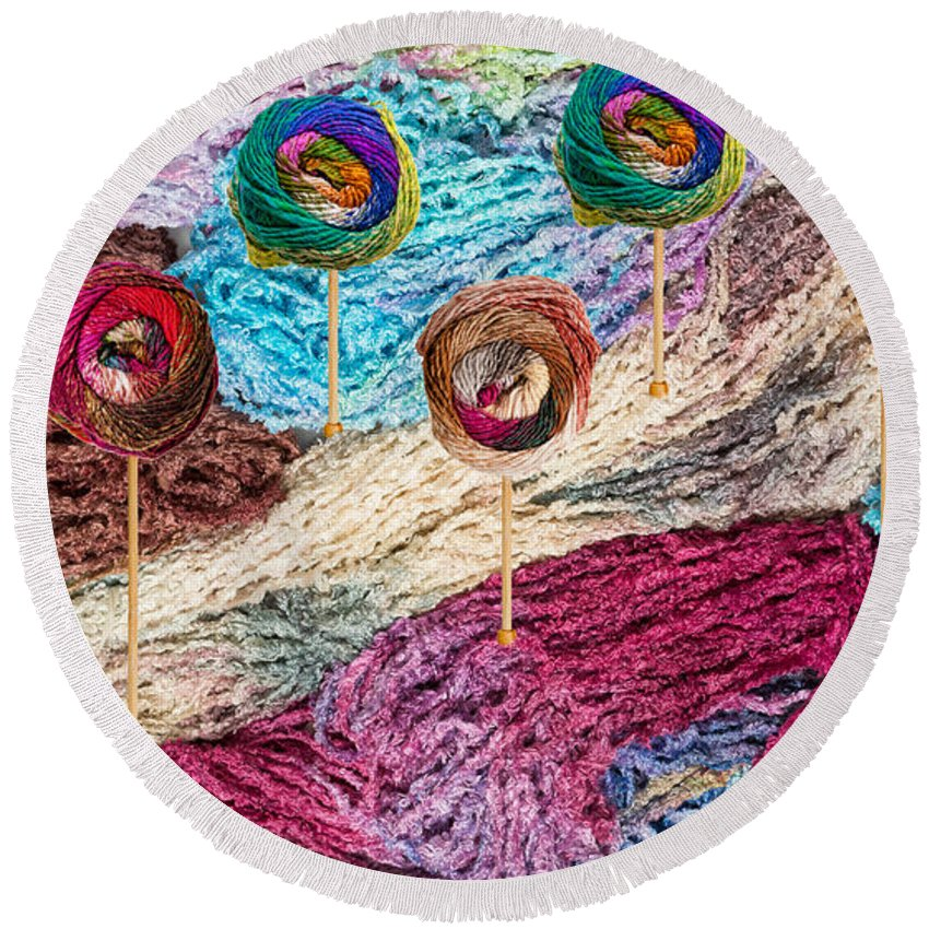Colors Round Beach Towel featuring the photograph Knitting Lane by Les Palenik