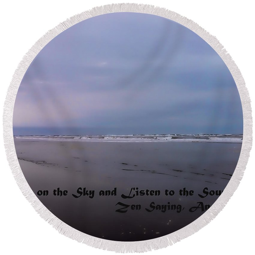 Round Beach Towel featuring the photograph Knock On The Sky by Cathy Anderson