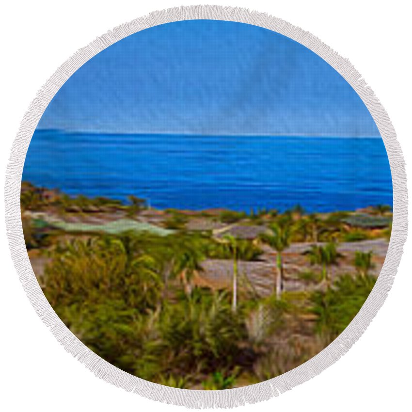 Big Island Round Beach Towel featuring the photograph Kohala Coast Panorama by Omaste Witkowski
