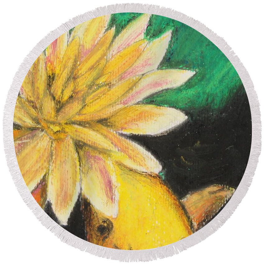 Japanese Round Beach Towel featuring the painting Koi And The Lotus Flower by Jeanne Fischer