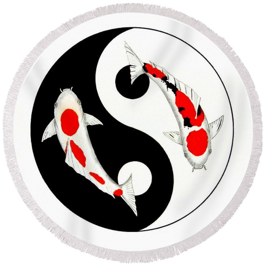 Tattoo Round Beach Towel featuring the painting Koi Kohaku And Taisho Sanke Yin Yang Painting by Gordon Lavender