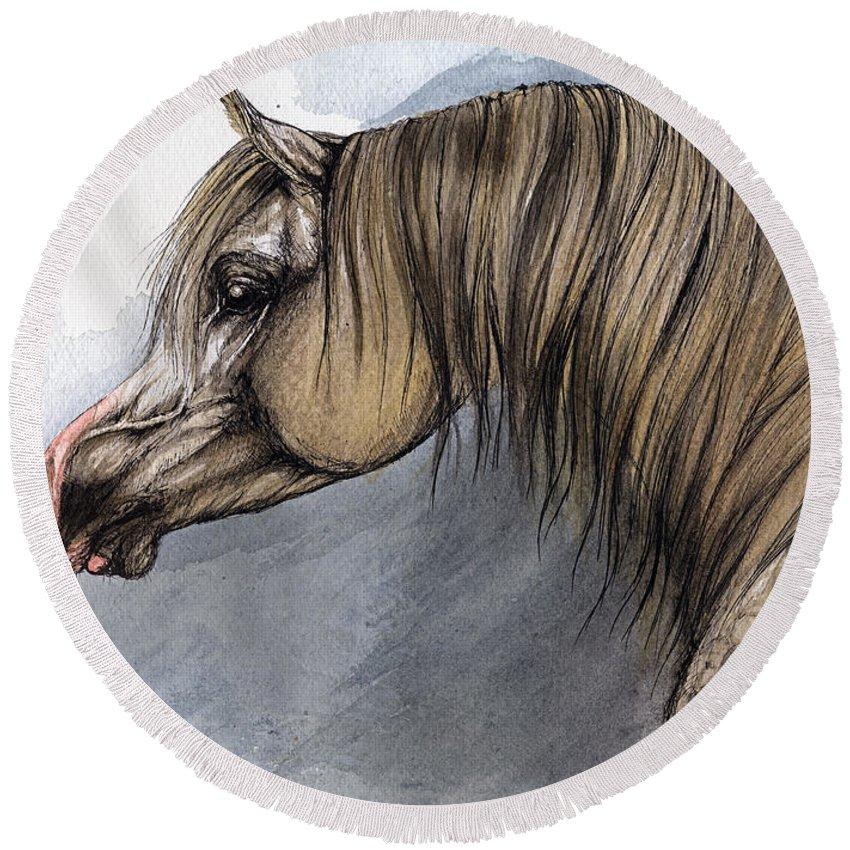 Horse Round Beach Towel featuring the painting Kordelas by Angel Ciesniarska