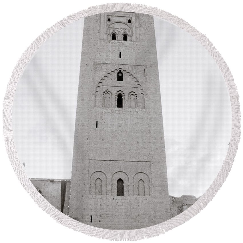 Architecture Round Beach Towel featuring the photograph Koutoubia Mosque by Shaun Higson