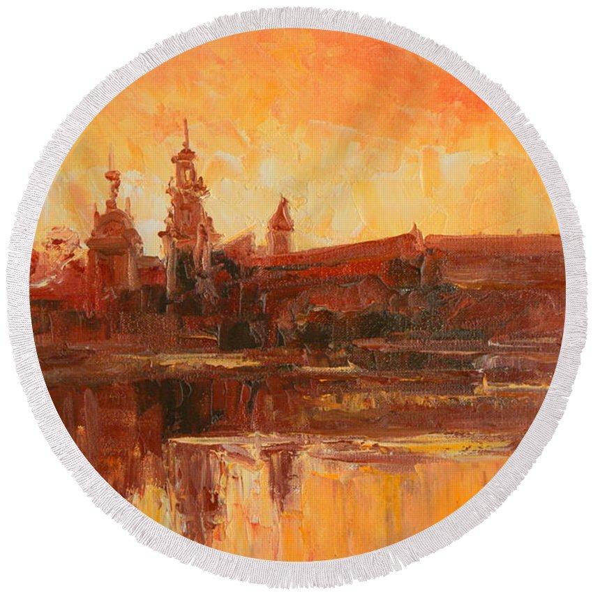 Wawel Round Beach Towel featuring the painting Krakow - Wawel Impression by Luke Karcz
