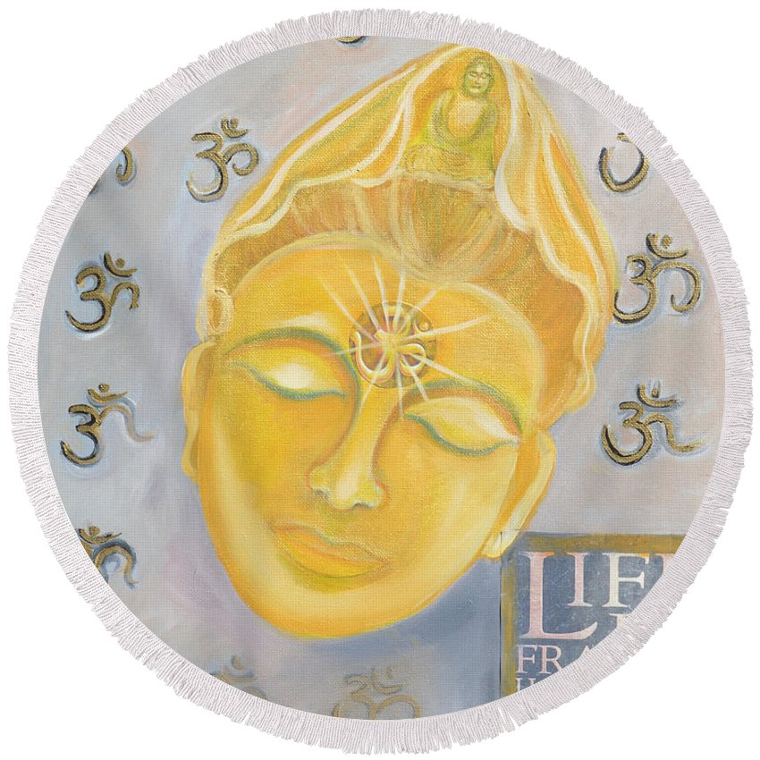 Kuan Yin Round Beach Towel featuring the painting Kuan Yin With Quote by To-Tam Gerwe