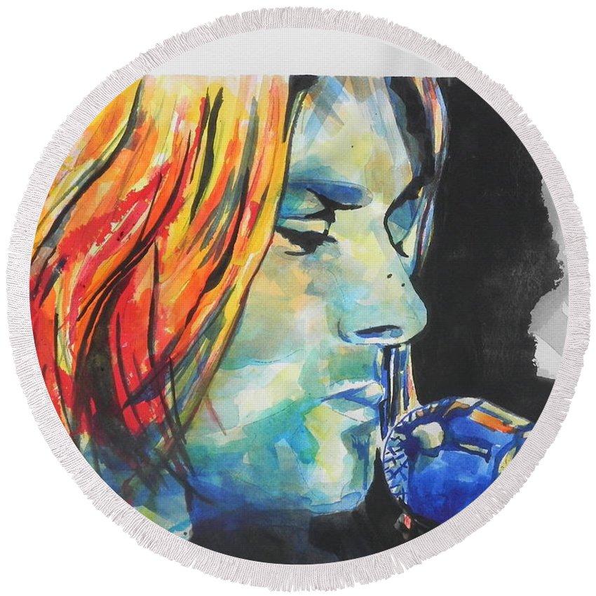 Watercolors Round Beach Towel featuring the painting Kurt Cobain by Chrisann Ellis