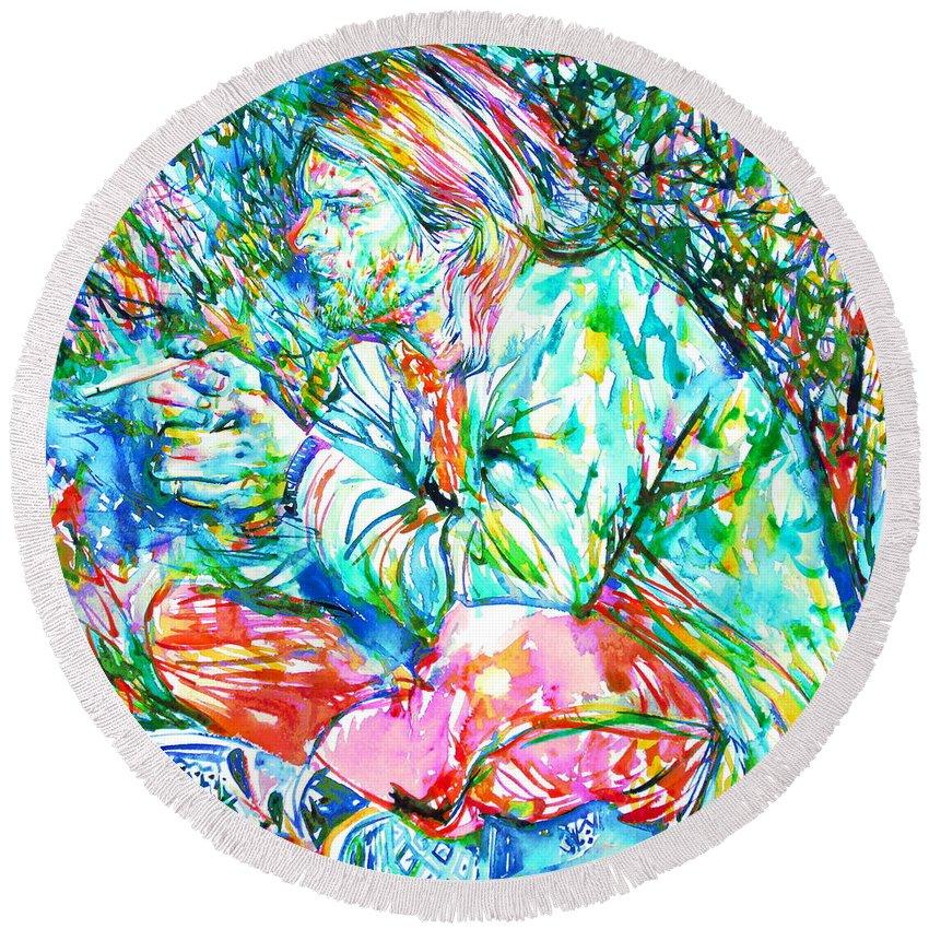 Kurt Cobain Round Beach Towel featuring the painting Kurt Cobain Portrait.10 by Fabrizio Cassetta