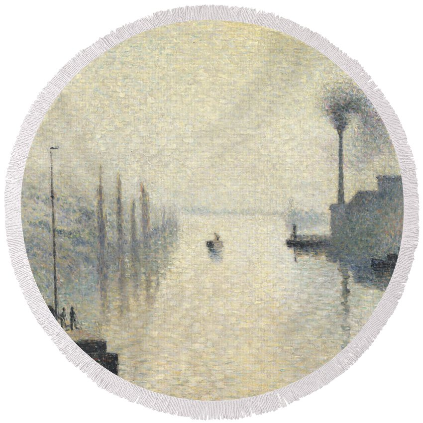 Camille Pissarro Round Beach Towel featuring the painting L Ile Lacroix. Rouen. The Effect Of Fog by Camille Pissarro