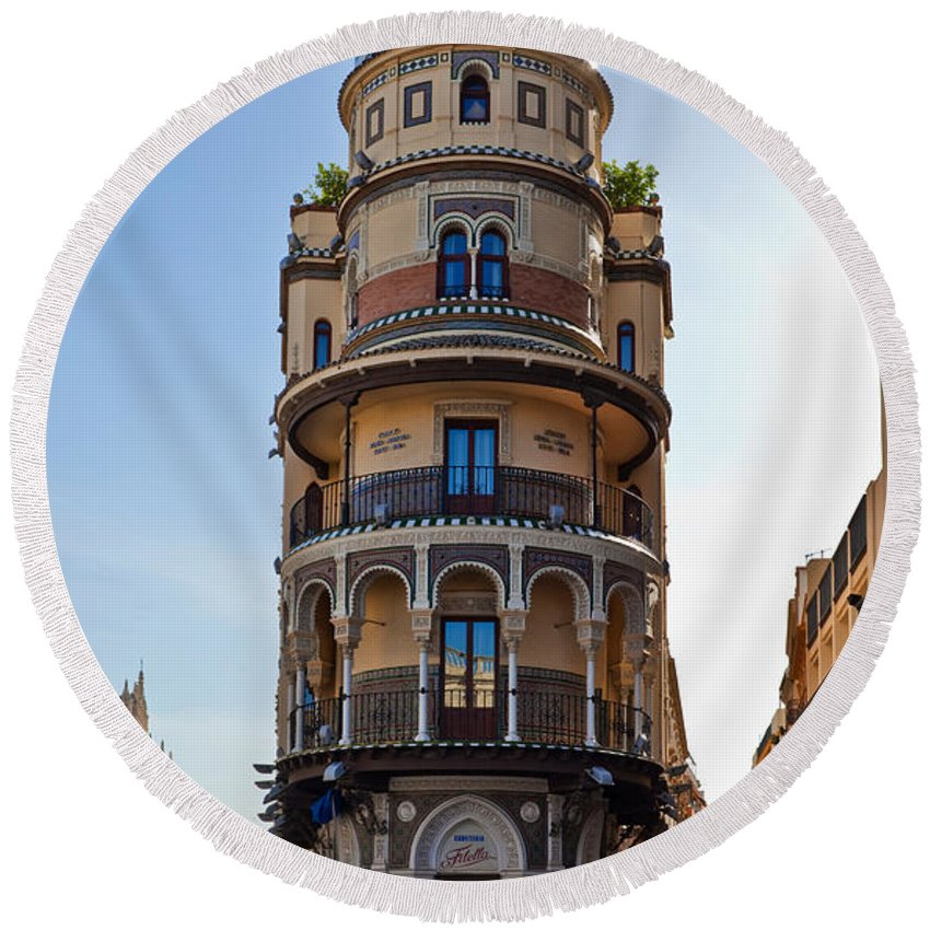 Photography Round Beach Towel featuring the photograph La Adriatica Building, Seville by Panoramic Images