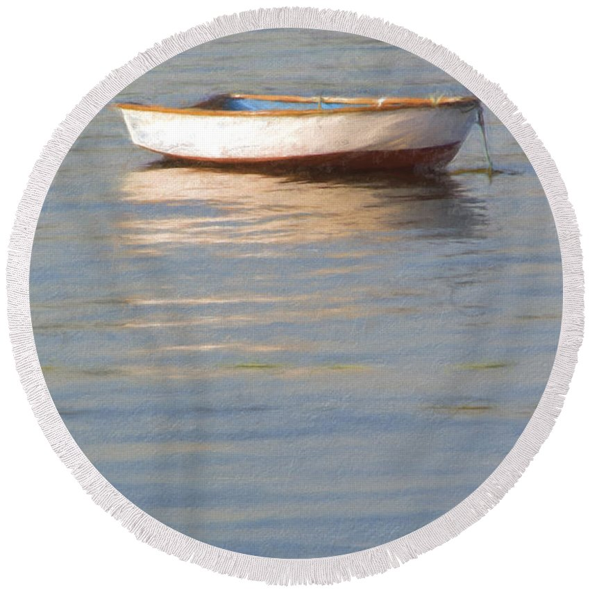 Boat Round Beach Towel featuring the photograph La Barque Au Crepuscule by Jean-Pierre Ducondi