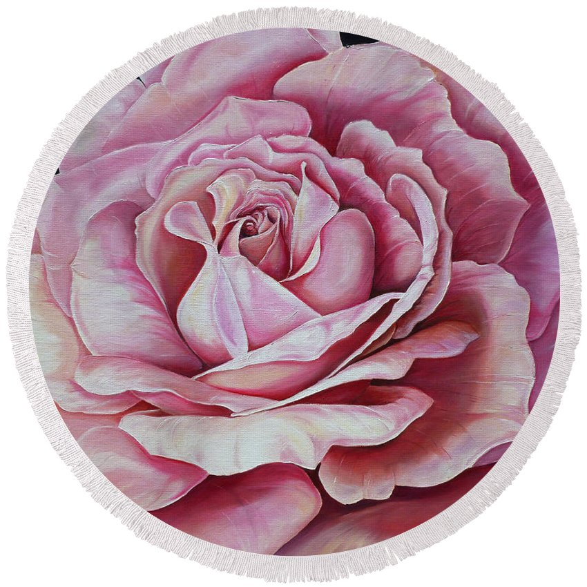 Rose Painting Pink Rose Painting  Floral Painting Flower Painting Botanical Painting Greeting Card Painting Round Beach Towel featuring the painting La Bella Rosa by Karin Dawn Kelshall- Best