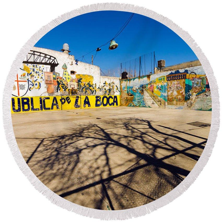 Argentina Round Beach Towel featuring the photograph La Boca Graffiti by Jess Kraft