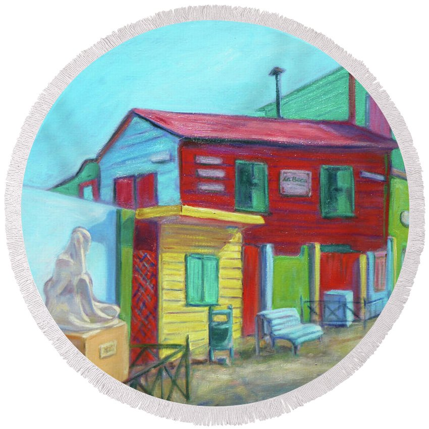 Morning Round Beach Towel featuring the painting La Boca Morning I by Xueling Zou