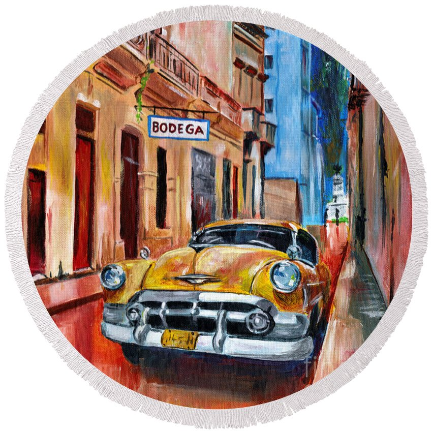 Cuba Round Beach Towel featuring the painting La Bodeguita by Maria Arango