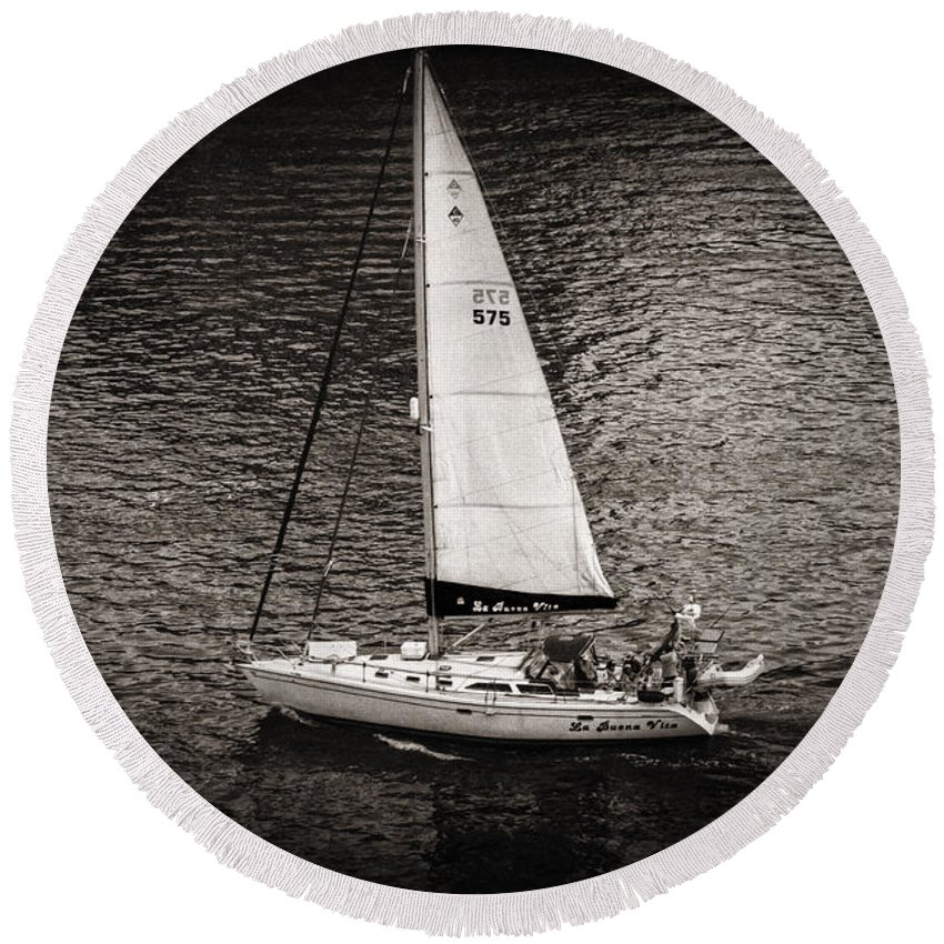 Sail Round Beach Towel featuring the photograph La Buena Vita by Madeline Ellis