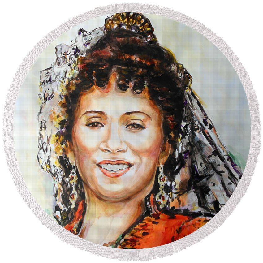 Carmen Round Beach Towel featuring the painting La Carmencita by Lucia Hoogervorst