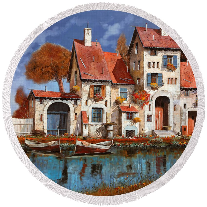 Little Village Round Beach Towel featuring the painting La Cascina Sul Lago by Guido Borelli