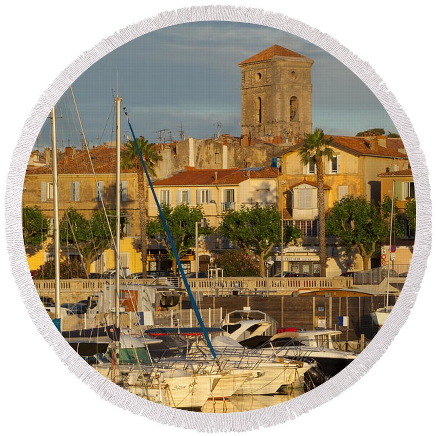 Boats Round Beach Towel featuring the photograph La Ciotat by Brian Jannsen