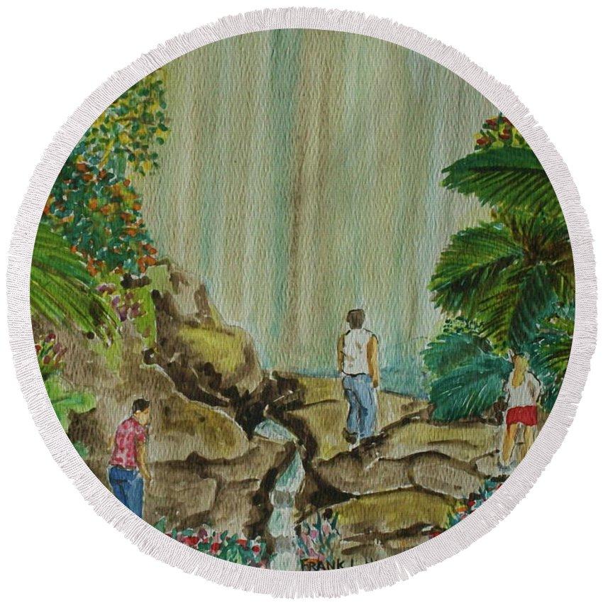 Coco Falls El Unque Rain Forest Puerto Rico Waterfall Rocks Foliage Rocks Round Beach Towel featuring the painting La Coco Falls El Yunque Rain Forest Puerto Rico by Frank Hunter