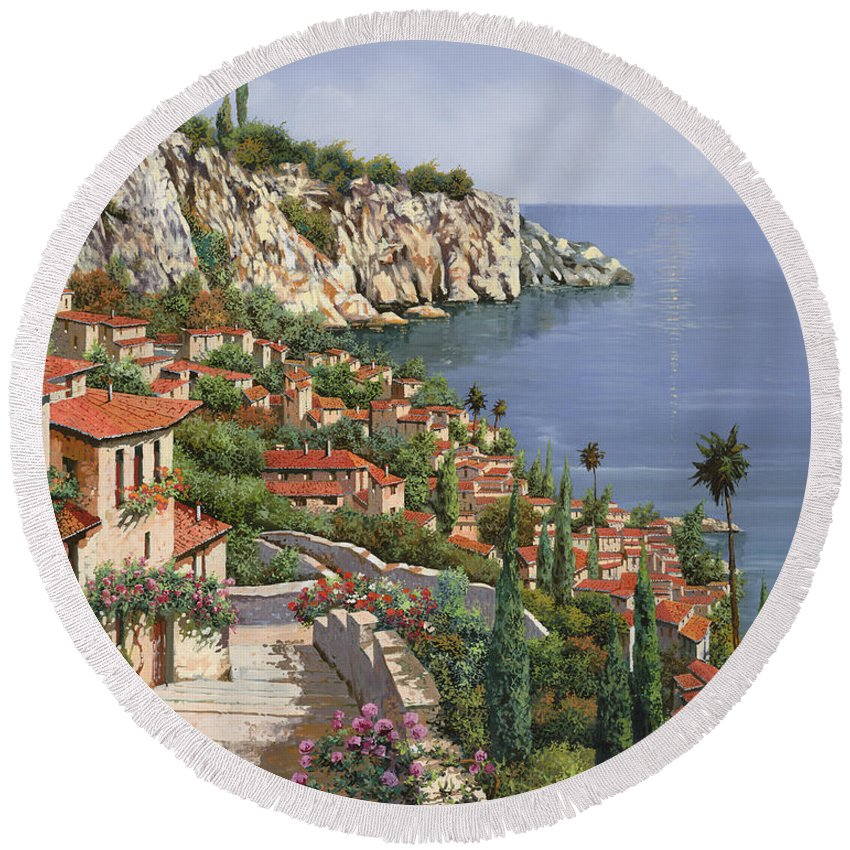 Seascape Round Beach Towel featuring the painting La Costa by Guido Borelli