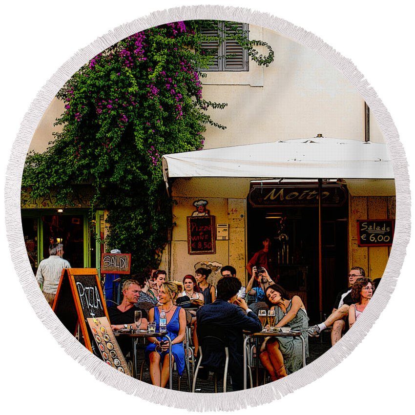Cafe Round Beach Towel featuring the digital art La Dolce Vita At A Cafe In Italy by Greg Matchick