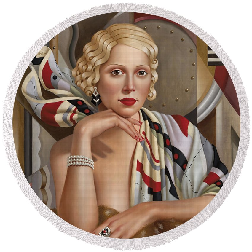 Female Round Beach Towel featuring the painting La Femmeen Soiehi by Catherine Abel