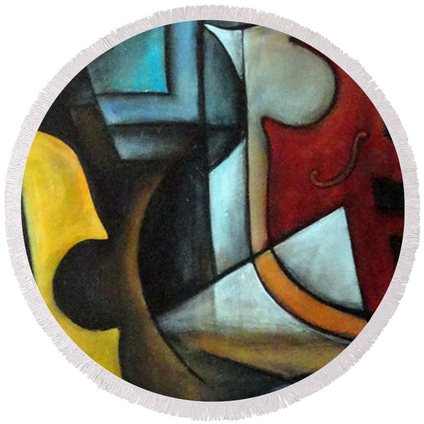 Abstract Round Beach Towel featuring the painting La Musique 1 by Valerie Vescovi