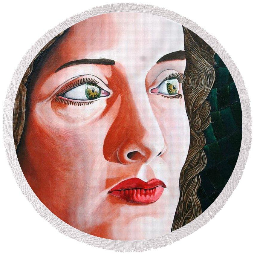 Portrait Round Beach Towel featuring the painting La Princessa Judea by Don Martinelli