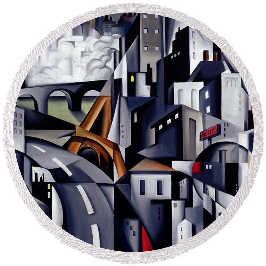 Rive Round Beach Towel featuring the painting La Rive Gauche by Catherine Abel