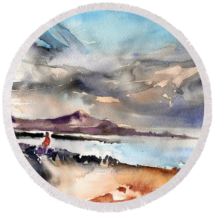 Travel Round Beach Towel featuring the painting La Santa In Lanzarote 02 by Miki De Goodaboom