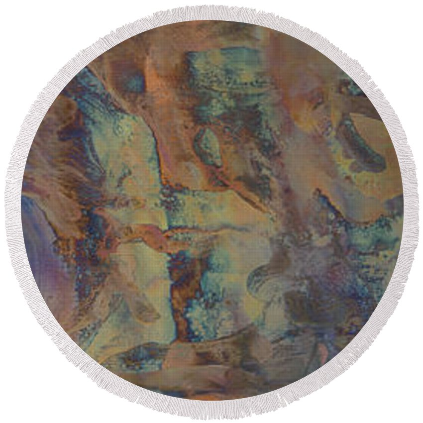 Abstract Print Round Beach Towel featuring the photograph La Terra Encantada by Darlene Ryer