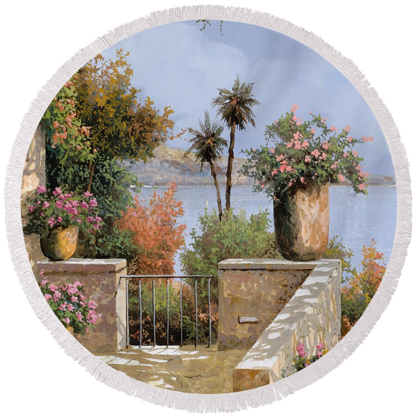 Terrace Round Beach Towel featuring the painting La Terrazza Un Vaso Due Palme by Guido Borelli