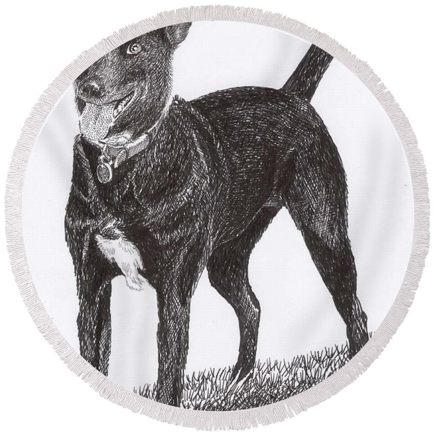 Priced Starting At $ 100.00 To $ 125.00 Framed Prints Of Man�s Best Friend. Framed Pen & Ink Art Of Winer Dogs. Ink Art Of Pets. Art Of Dogs And Cats.sue's Dog Drawn In Pen & Ink. Round Beach Towel featuring the drawing Here Is Once Own See by Jack Pumphrey