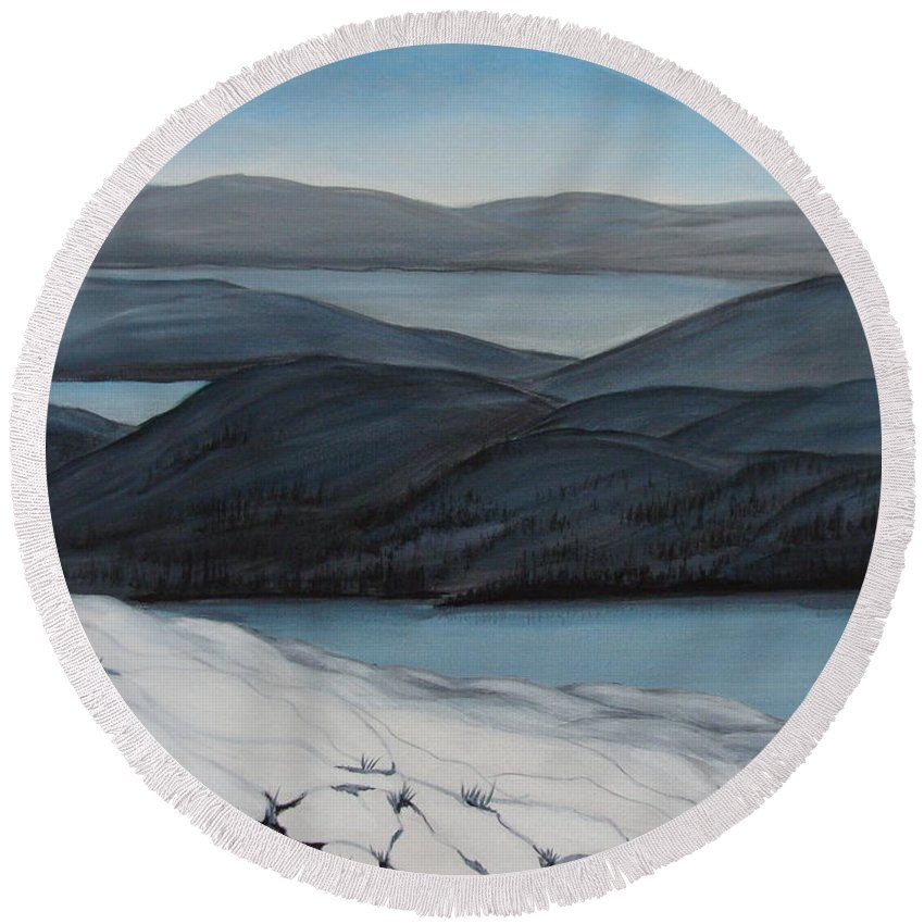 Winter Canvas Prints Round Beach Towel featuring the painting Labrador The Big Land by Beverly Livingstone
