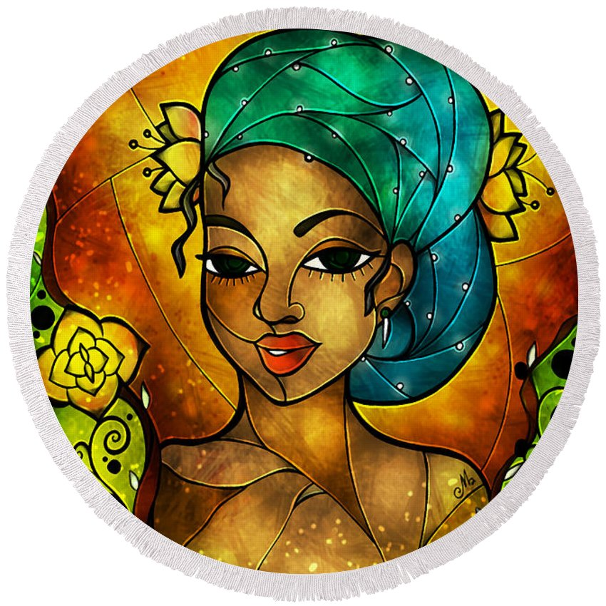 Flowers Round Beach Towel featuring the digital art Lady Creole by Mandie Manzano