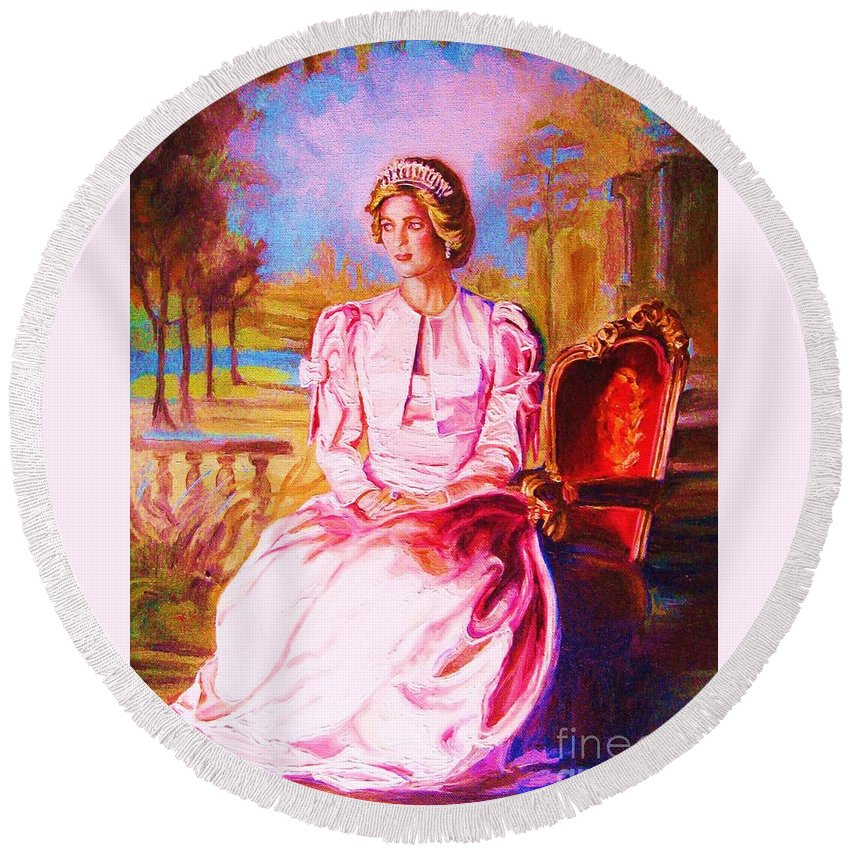 Princess Diana Round Beach Towel featuring the painting Lady Diana Our Princess by Carole Spandau