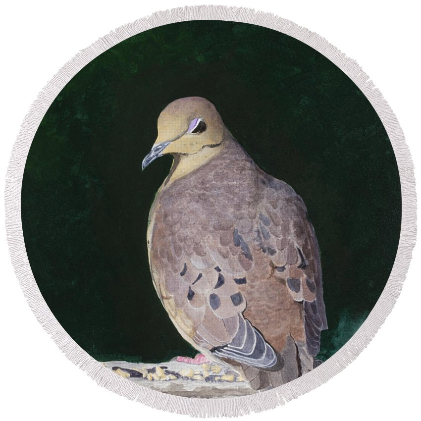 Mourning Dove Round Beach Towel featuring the painting Lady Dove by Mike Robles