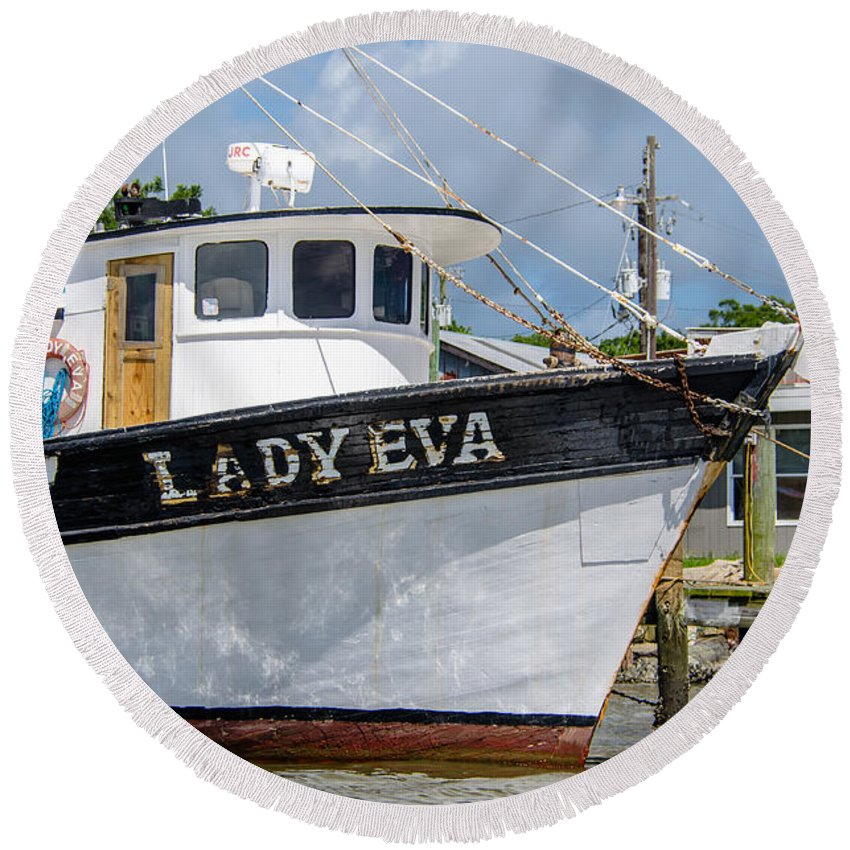 Lady Eva Round Beach Towel featuring the photograph Lady Eva Shrimp Boat by Dale Powell